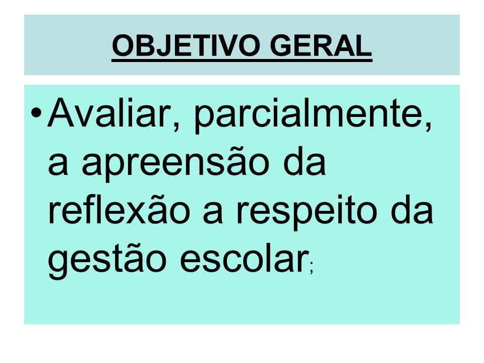 OBJETIVO GERAL Avaliar, parcialmente, a apreensão da reflexão a respeito da gestão escolar ;