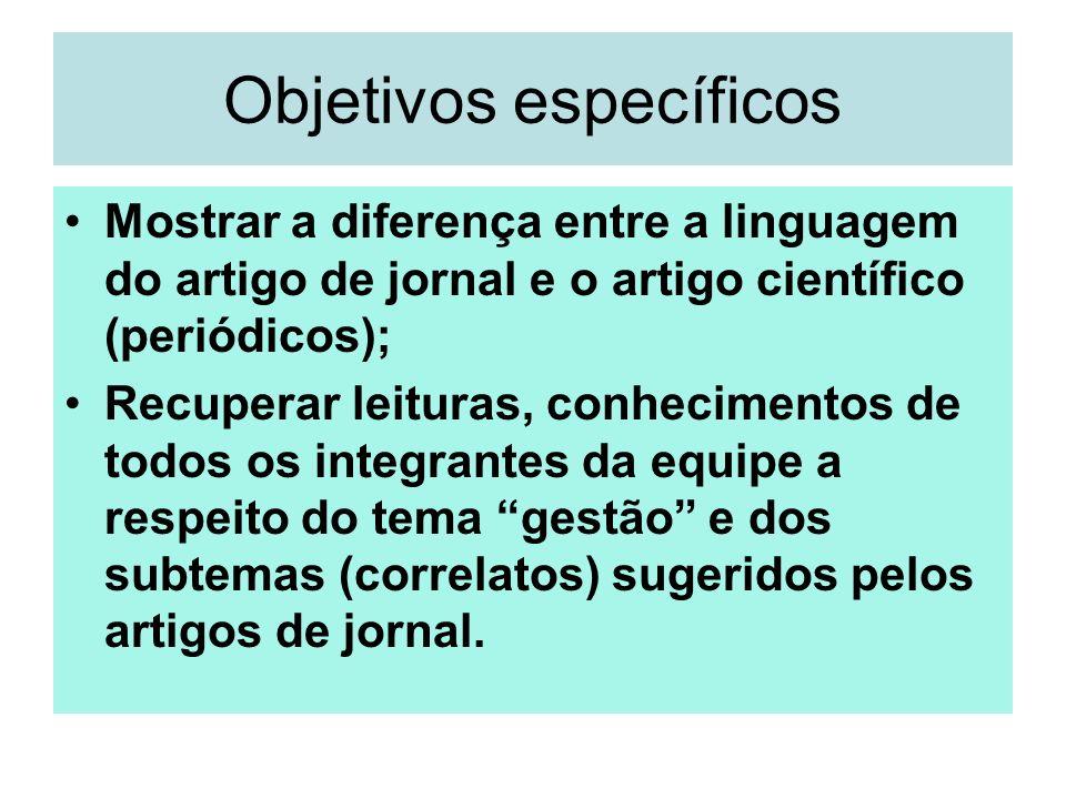 Objetivos específicos Mostrar a diferença entre a linguagem do artigo de jornal e o artigo científico (periódicos); Recuperar leituras, conhecimentos