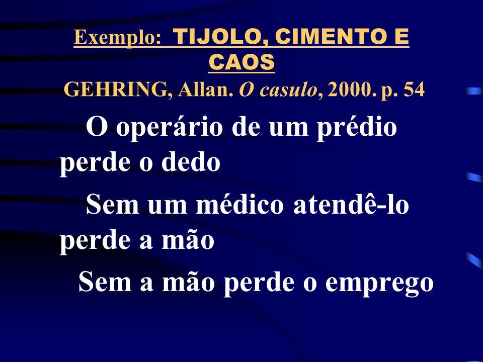 Exemplo: TIJOLO, CIMENTO E CAOS GEHRING, Allan. O casulo, 2000.
