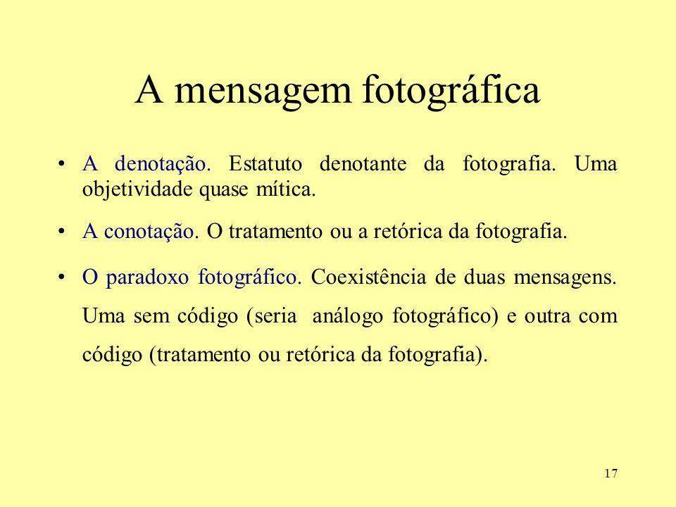 17 A mensagem fotográfica A denotação. Estatuto denotante da fotografia. Uma objetividade quase mítica. A conotação. O tratamento ou a retórica da fot