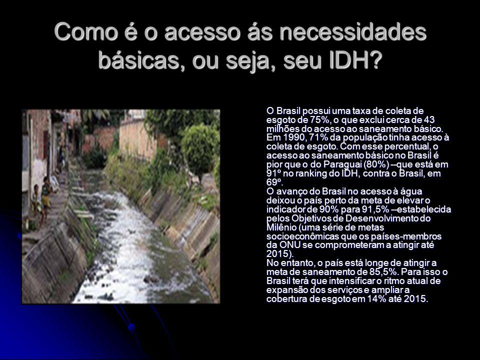Como é o acesso ás necessidades básicas, ou seja, seu IDH? O Brasil possui uma taxa de coleta de esgoto de 75%, o que exclui cerca de 43 milhões do ac