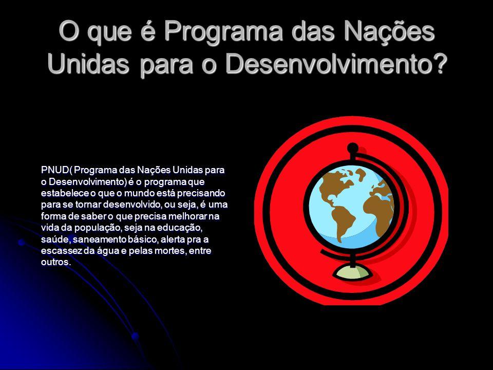O que é Programa das Nações Unidas para o Desenvolvimento? PNUD( Programa das Nações Unidas para o Desenvolvimento) é o programa que estabelece o que