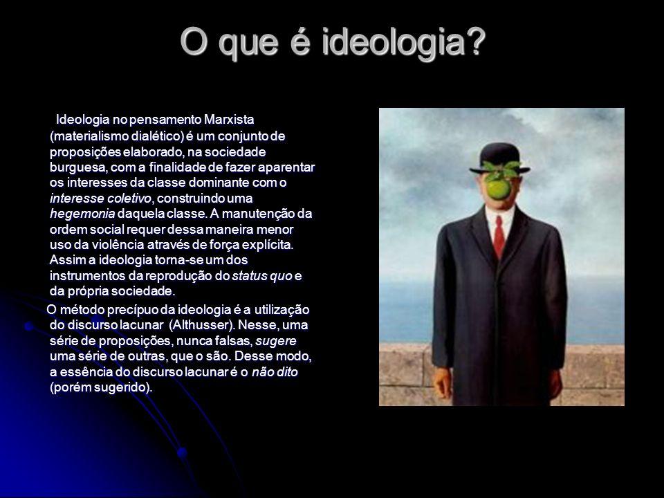 O que é ideologia? Ideologia no pensamento Marxista (materialismo dialético) é um conjunto de proposições elaborado, na sociedade burguesa, com a fina