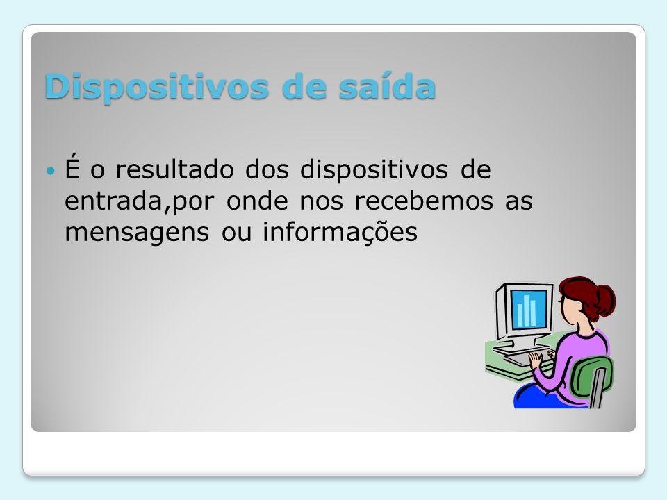 Dispositivos de saída É o resultado dos dispositivos de entrada,por onde nos recebemos as mensagens ou informações