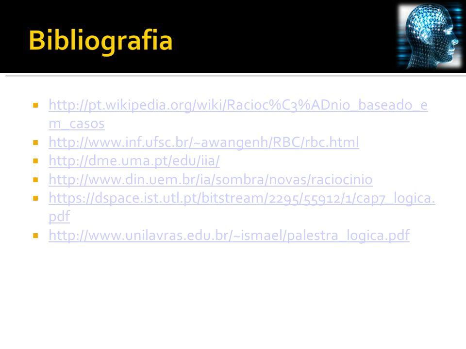 http://pt.wikipedia.org/wiki/Racioc%C3%ADnio_baseado_e m_casos http://pt.wikipedia.org/wiki/Racioc%C3%ADnio_baseado_e m_casos http://www.inf.ufsc.br/~awangenh/RBC/rbc.html http://dme.uma.pt/edu/iia/ http://www.din.uem.br/ia/sombra/novas/raciocinio https://dspace.ist.utl.pt/bitstream/2295/55912/1/cap7_logica.