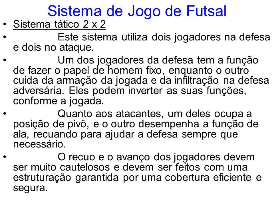 Sistema de Jogo de Futsal Sistema tático 2 x 2 Este sistema utiliza dois jogadores na defesa e dois no ataque. Um dos jogadores da defesa tem a função
