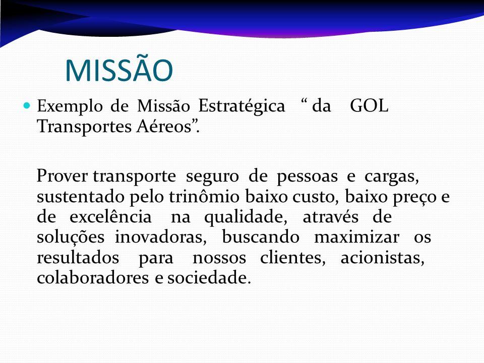 Exemplo de Missão Estratégica da GOL Transportes Aéreos. Prover transporte seguro de pessoas e cargas, sustentado pelo trinômio baixo custo, baixo pre