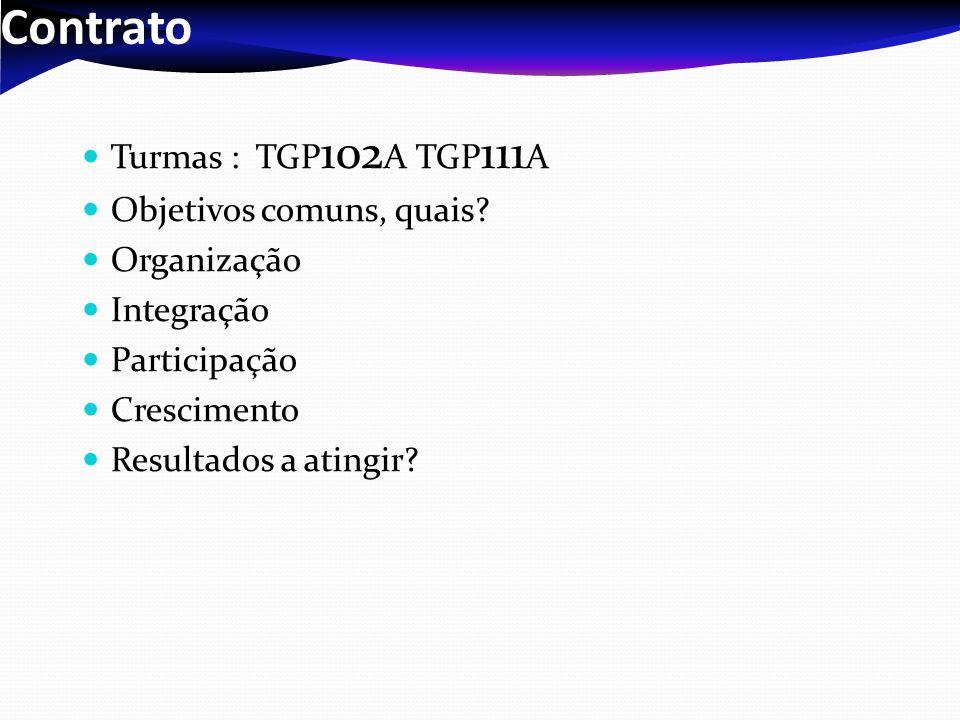 Contrato Turmas : TGP 102 A TGP 111 A Objetivos comuns, quais? Organização Integração Participação Crescimento Resultados a atingir?