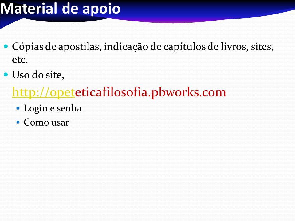Material de apoio Cópias de apostilas, indicação de capítulos de livros, sites, etc. Uso do site, http://opethttp://opeteticafilosofia.pbworks.com Log