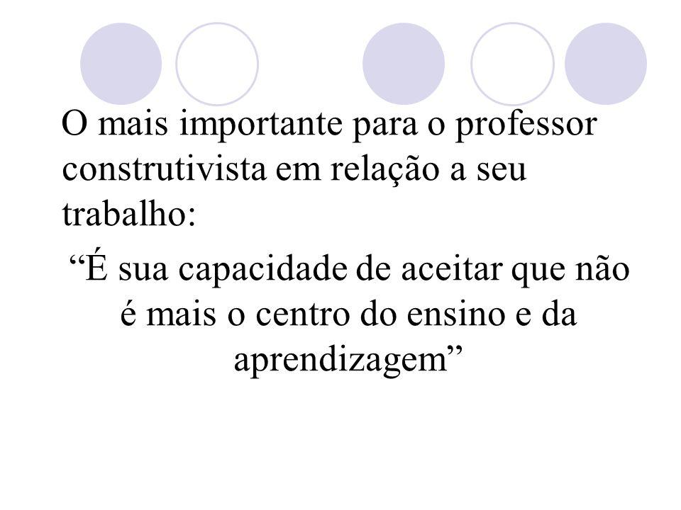 O mais importante para o professor construtivista em relação a seu trabalho: É sua capacidade de aceitar que não é mais o centro do ensino e da aprendizagem