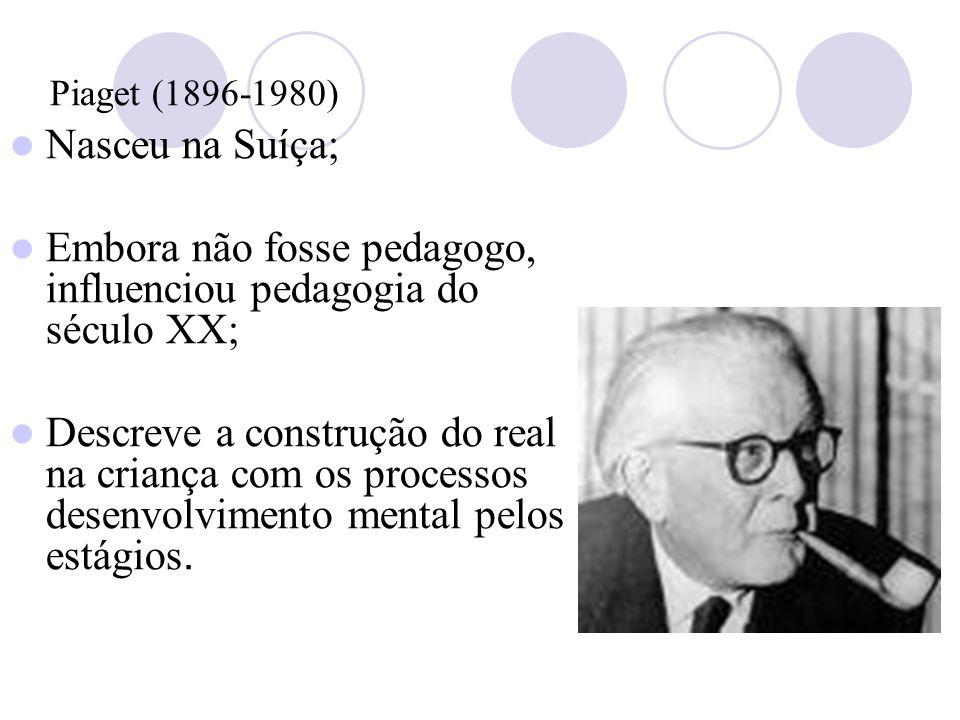 Piaget (1896-1980) Nasceu na Suíça; Embora não fosse pedagogo, influenciou pedagogia do século XX; Descreve a construção do real na criança com os processos desenvolvimento mental pelos estágios.