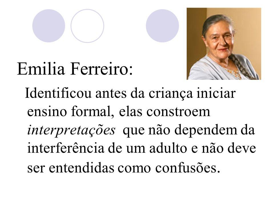 Emilia Ferreiro: Identificou antes da criança iniciar ensino formal, elas constroem interpretações que não dependem da interferência de um adulto e não deve ser entendidas como confusões.