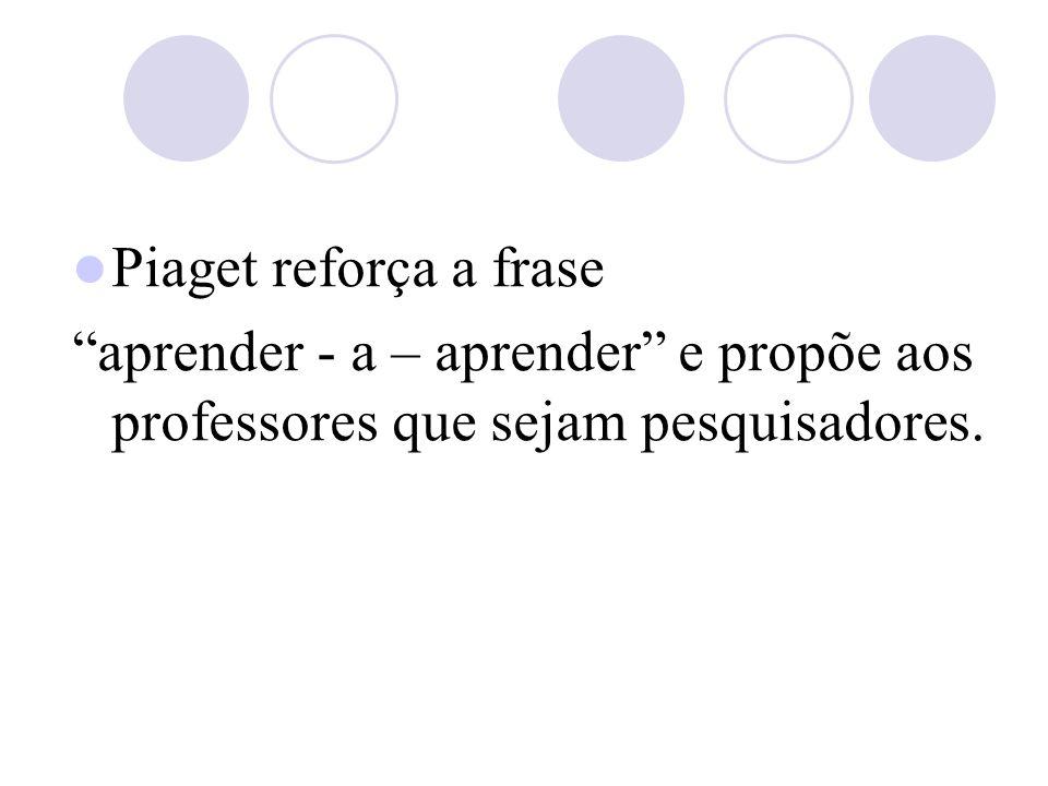 Piaget reforça a frase aprender - a – aprender e propõe aos professores que sejam pesquisadores.