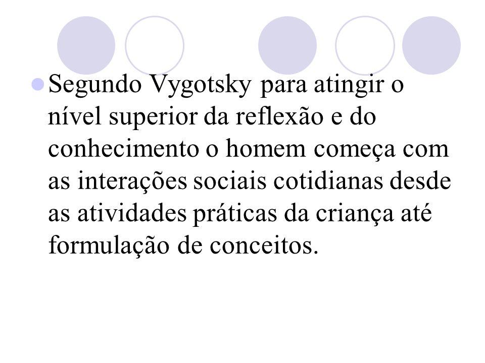 Segundo Vygotsky para atingir o nível superior da reflexão e do conhecimento o homem começa com as interações sociais cotidianas desde as atividades práticas da criança até formulação de conceitos.