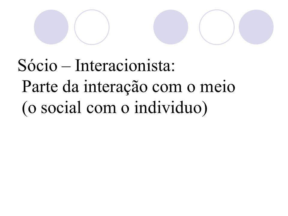 Sócio – Interacionista: Parte da interação com o meio (o social com o individuo)