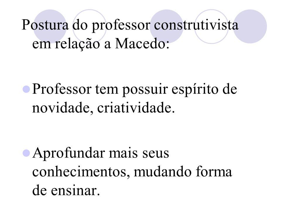 Postura do professor construtivista em relação a Macedo: Professor tem possuir espírito de novidade, criatividade.