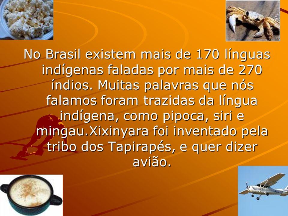 No Brasil existem mais de 170 línguas indígenas faladas por mais de 270 índios.