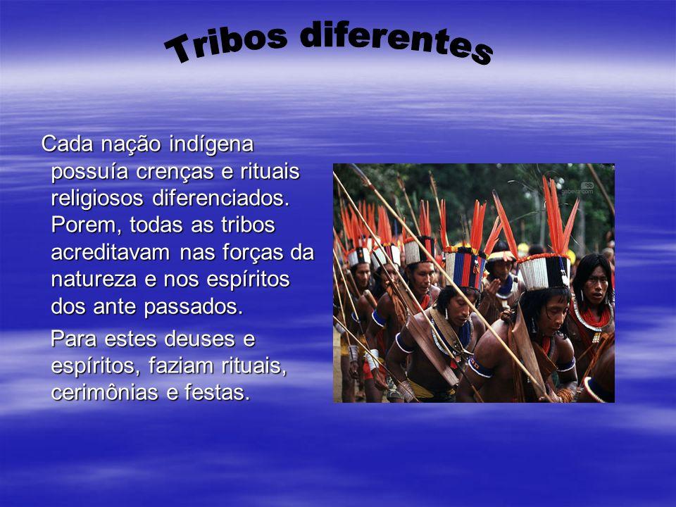 Cada nação indígena possuía crenças e rituais religiosos diferenciados. Porem, todas as tribos acreditavam nas forças da natureza e nos espíritos dos