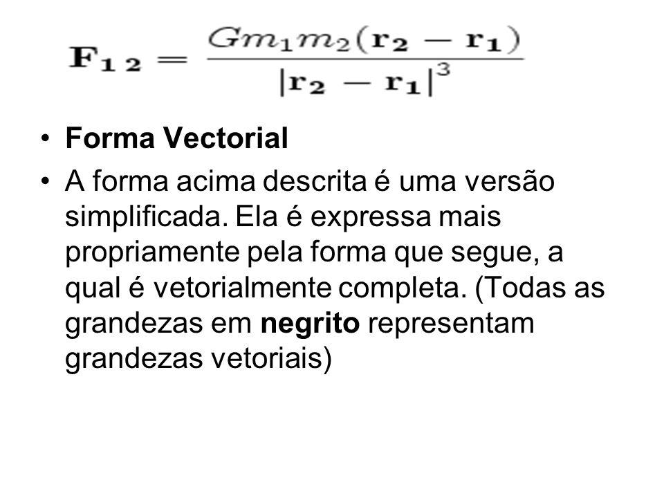 Forma Vectorial A forma acima descrita é uma versão simplificada. Ela é expressa mais propriamente pela forma que segue, a qual é vetorialmente comple