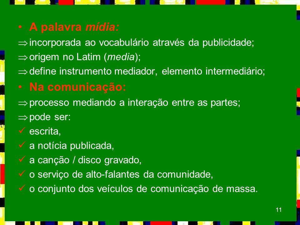 11 A palavra mídia: Þincorporada ao vocabulário através da publicidade; Þorigem no Latim (media); Þdefine instrumento mediador, elemento intermediário