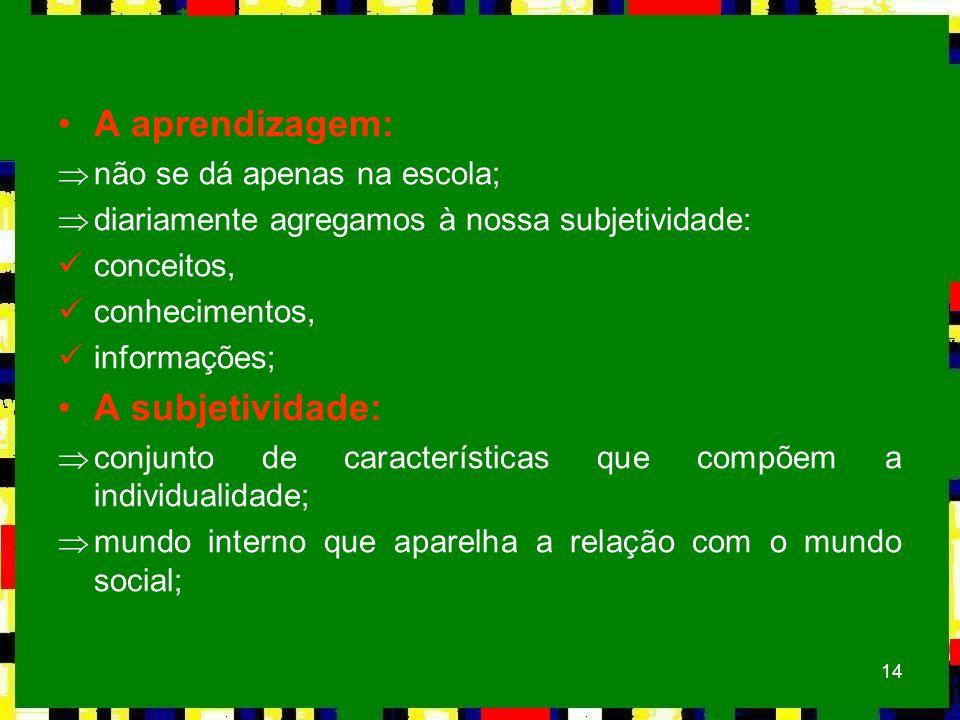 14 A aprendizagem: Þnão se dá apenas na escola; Þdiariamente agregamos à nossa subjetividade: conceitos, conhecimentos, informações; A subjetividade: