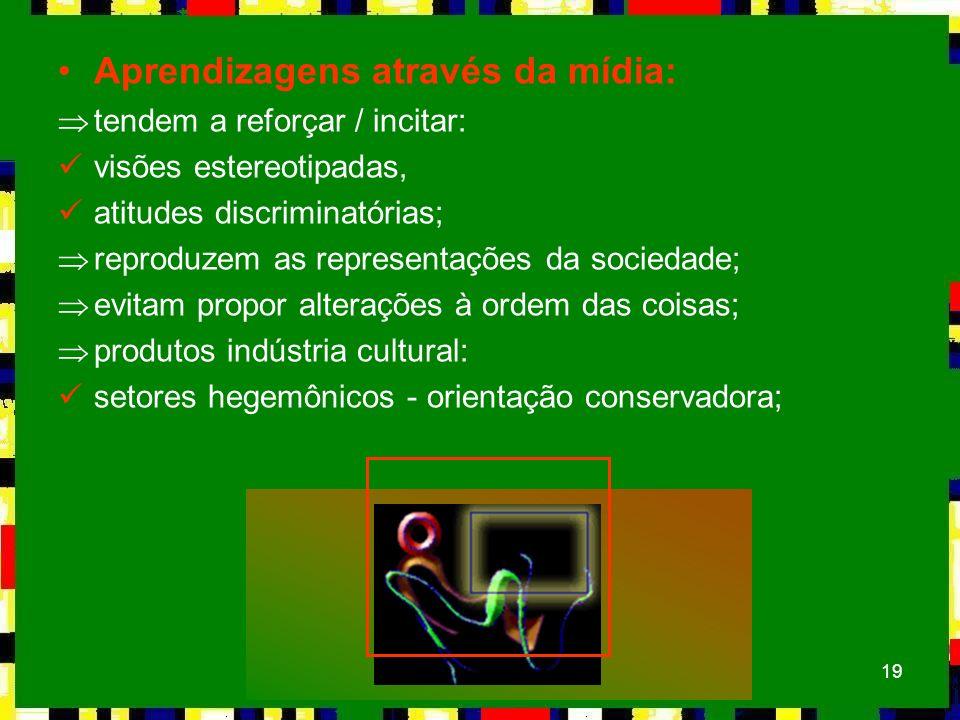 19 Aprendizagens através da mídia: Þtendem a reforçar / incitar: visões estereotipadas, atitudes discriminatórias; Þreproduzem as representações da so