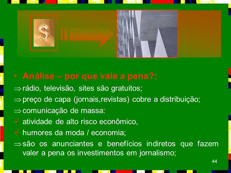 44 Análise – por que vale a pena?: Þrádio, televisão, sites são gratuitos; Þpreço de capa (jornais,revistas) cobre a distribuição; Þcomunicação de mas