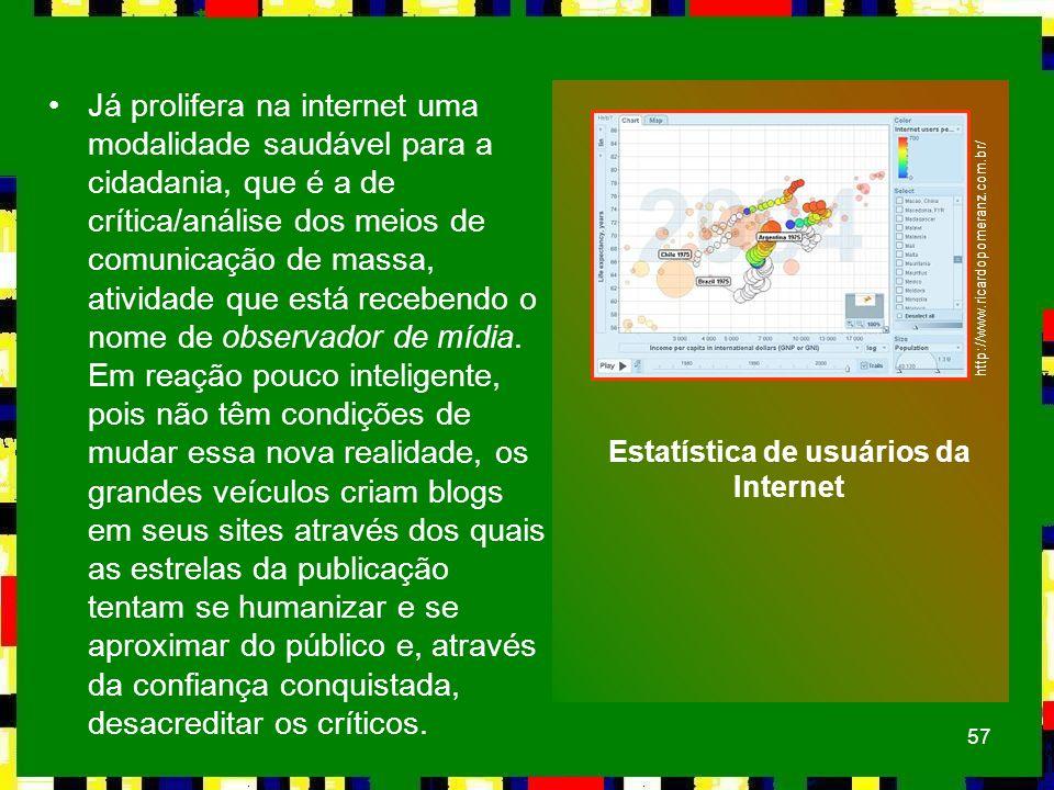 57 Já prolifera na internet uma modalidade saudável para a cidadania, que é a de crítica/análise dos meios de comunicação de massa, atividade que está