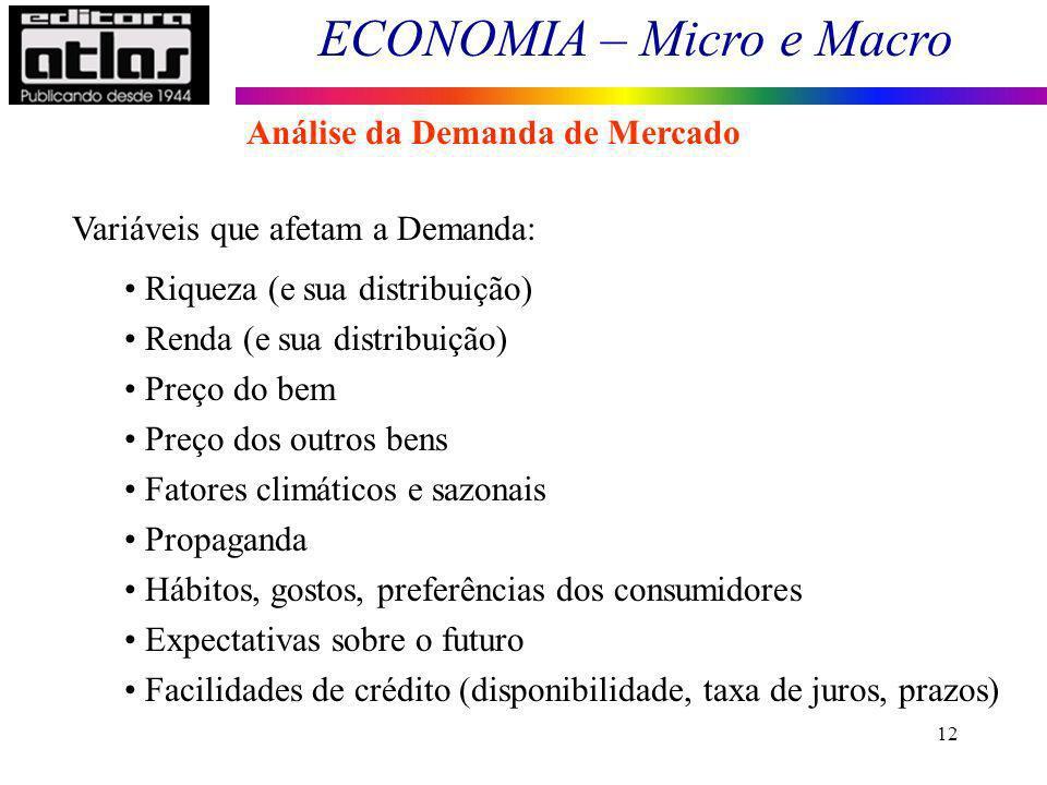 ECONOMIA – Micro e Macro 12 Variáveis que afetam a Demanda: Riqueza (e sua distribuição) Renda (e sua distribuição) Preço do bem Preço dos outros bens