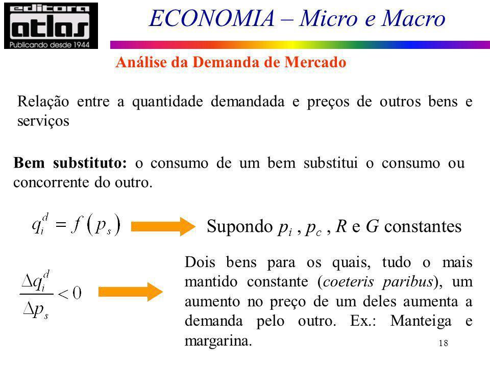 ECONOMIA – Micro e Macro 18 Relação entre a quantidade demandada e preços de outros bens e serviços Bem substituto: o consumo de um bem substitui o co