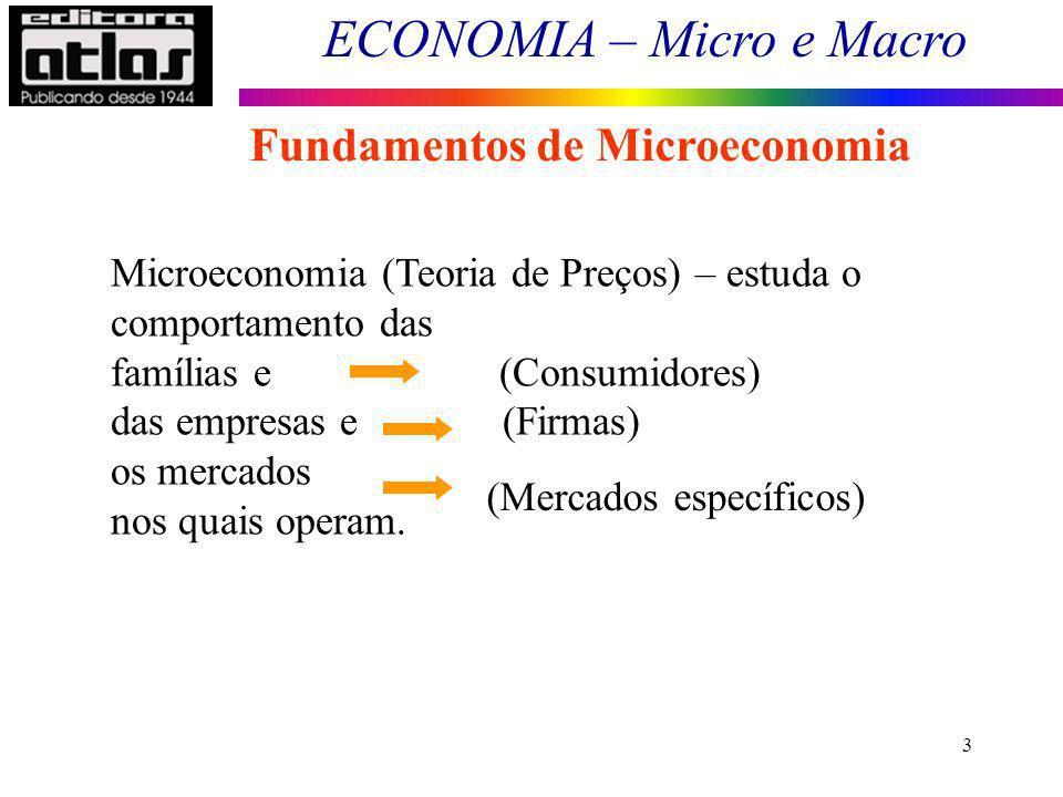ECONOMIA – Micro e Macro 3 Fundamentos de Microeconomia Microeconomia (Teoria de Preços) – estuda o comportamento das famílias e (Consumidores) das em