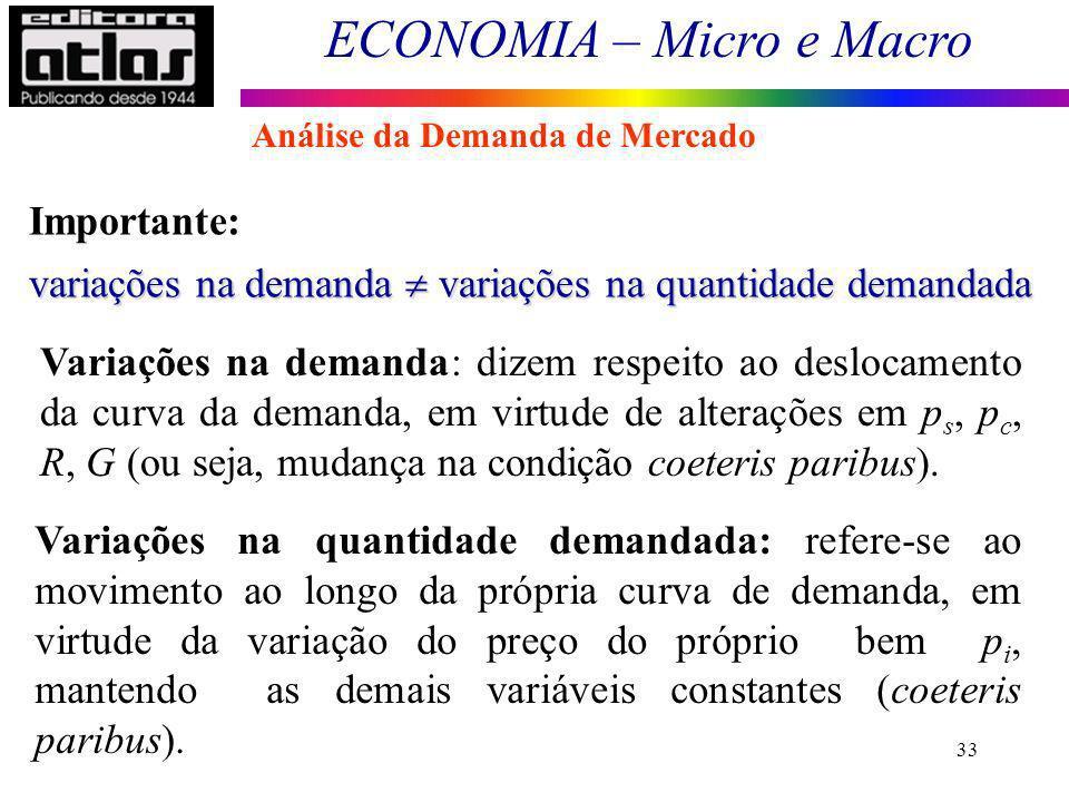 ECONOMIA – Micro e Macro 33 Importante: variações na demanda variações na quantidade demandada Variações na demanda: dizem respeito ao deslocamento da