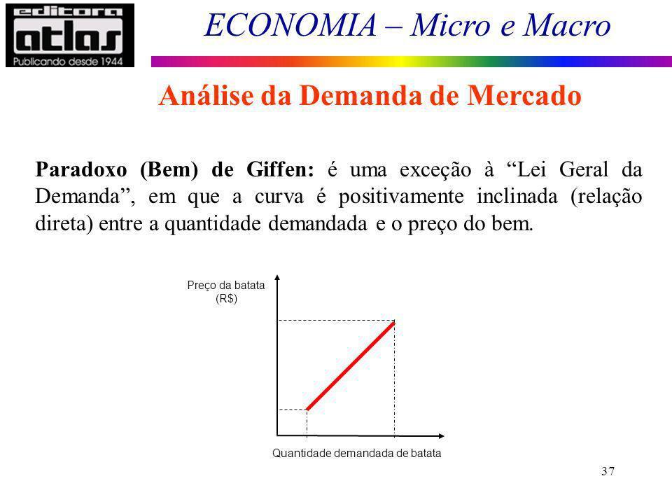ECONOMIA – Micro e Macro 37 Paradoxo (Bem) de Giffen: é uma exceção à Lei Geral da Demanda, em que a curva é positivamente inclinada (relação direta)