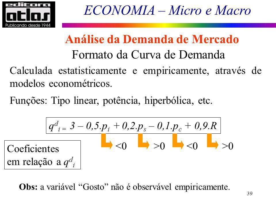 ECONOMIA – Micro e Macro 39 Formato da Curva de Demanda Calculada estatisticamente e empiricamente, através de modelos econométricos. Funções: Tipo li