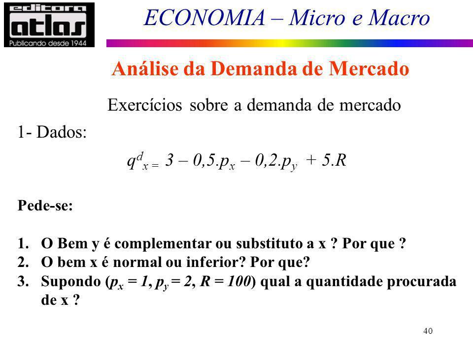 ECONOMIA – Micro e Macro 40 Exercícios sobre a demanda de mercado q d x = 3 – 0,5.p x – 0,2.p y + 5.R 1- Dados: Pede-se: 1.O Bem y é complementar ou s