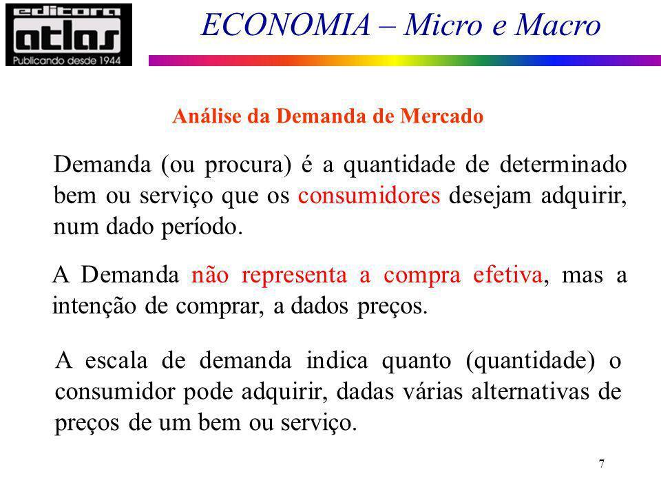 ECONOMIA – Micro e Macro 7 Demanda (ou procura) é a quantidade de determinado bem ou serviço que os consumidores desejam adquirir, num dado período. A