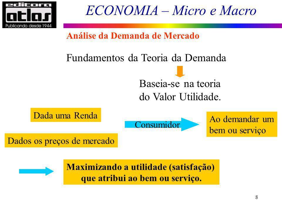 ECONOMIA – Micro e Macro 8 Fundamentos da Teoria da Demanda Baseia-se na teoria do Valor Utilidade. Dada uma Renda Dados os preços de mercado Consumid