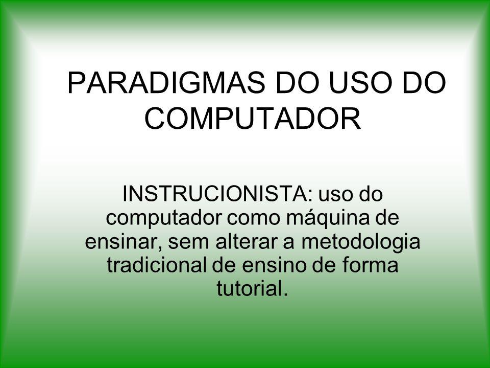 PARADIGMAS DO USO DO COMPUTADOR INSTRUCIONISTA: uso do computador como máquina de ensinar, sem alterar a metodologia tradicional de ensino de forma tu