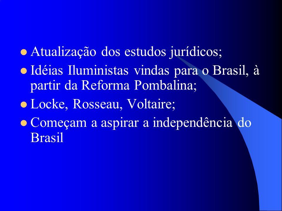 Atualização dos estudos jurídicos; Idéias Iluministas vindas para o Brasil, à partir da Reforma Pombalina; Locke, Rosseau, Voltaire; Começam a aspirar
