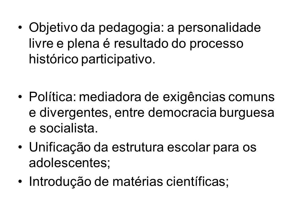 Objetivo da pedagogia: a personalidade livre e plena é resultado do processo histórico participativo. Política: mediadora de exigências comuns e diver
