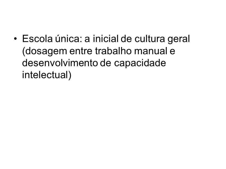 Escola única: a inicial de cultura geral (dosagem entre trabalho manual e desenvolvimento de capacidade intelectual)