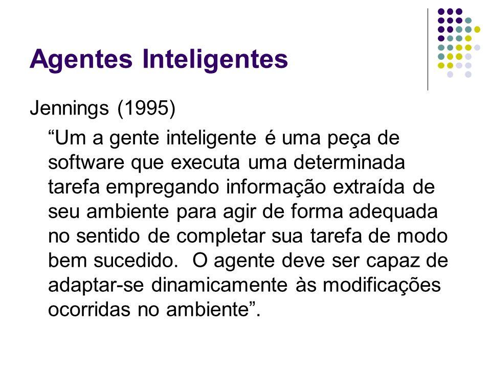 Agentes Inteligentes Jennings (1995) Um a gente inteligente é uma peça de software que executa uma determinada tarefa empregando informação extraída d