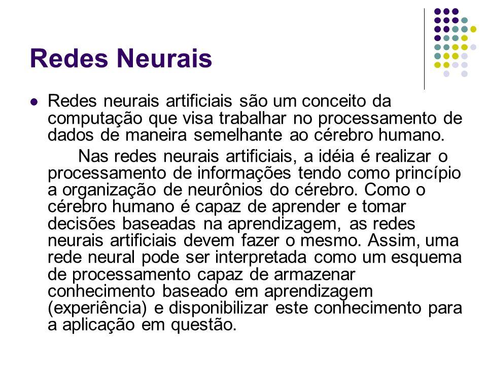 Redes Neurais Redes neurais artificiais são um conceito da computação que visa trabalhar no processamento de dados de maneira semelhante ao cérebro hu