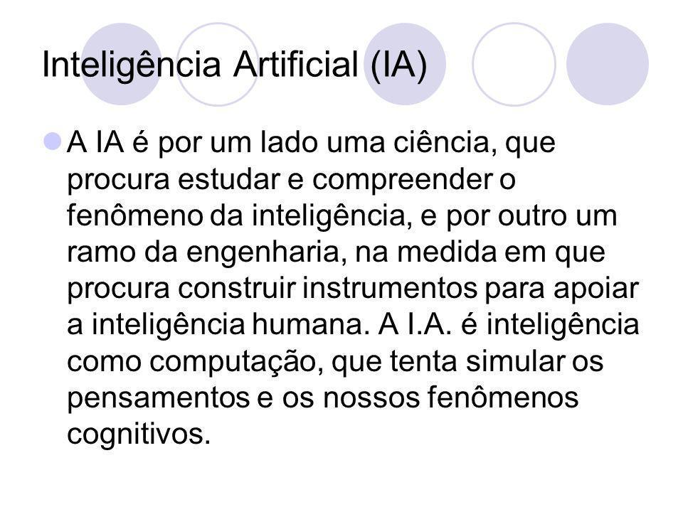 Inteligência Artificial (IA) A IA é por um lado uma ciência, que procura estudar e compreender o fenômeno da inteligência, e por outro um ramo da engenharia, na medida em que procura construir instrumentos para apoiar a inteligência humana.