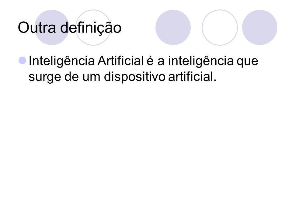 Outra definição Inteligência Artificial é a inteligência que surge de um dispositivo artificial.