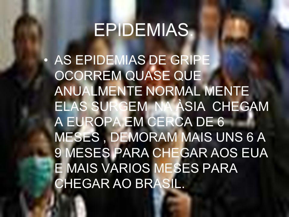 EPIDEMIAS. AS EPIDEMIAS DE GRIPE OCORREM QUASE QUE ANUALMENTE NORMAL MENTE ELAS SURGEM NA ÀSIA CHEGAM A EUROPA EM CERCA DE 6 MESES, DEMORAM MAIS UNS 6