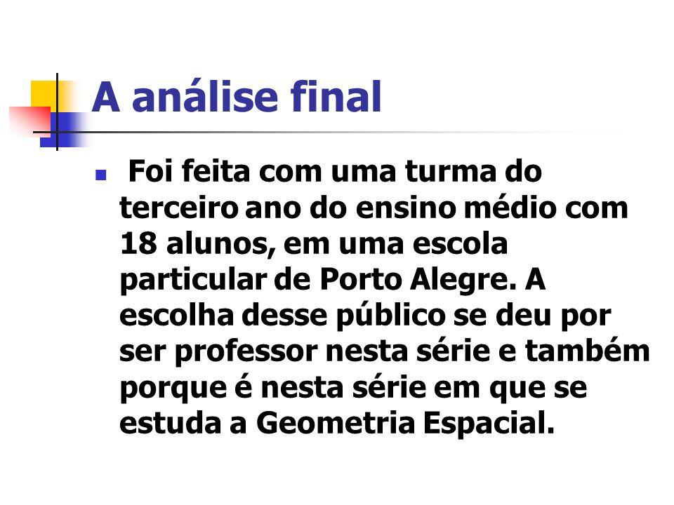 A análise final Foi feita com uma turma do terceiro ano do ensino médio com 18 alunos, em uma escola particular de Porto Alegre.
