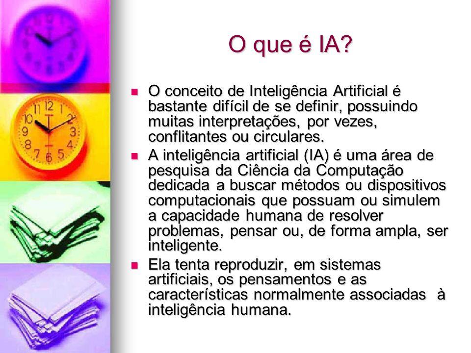 O que é IA? O conceito de Inteligência Artificial é bastante difícil de se definir, possuindo muitas interpretações, por vezes, conflitantes ou circul