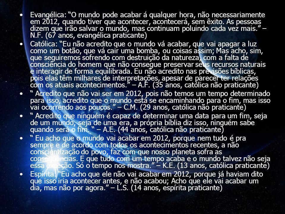 Evangélica: O mundo pode acabar á qualquer hora, não necessariamente em 2012, quando tiver que acontecer, acontecerá, sem êxito.