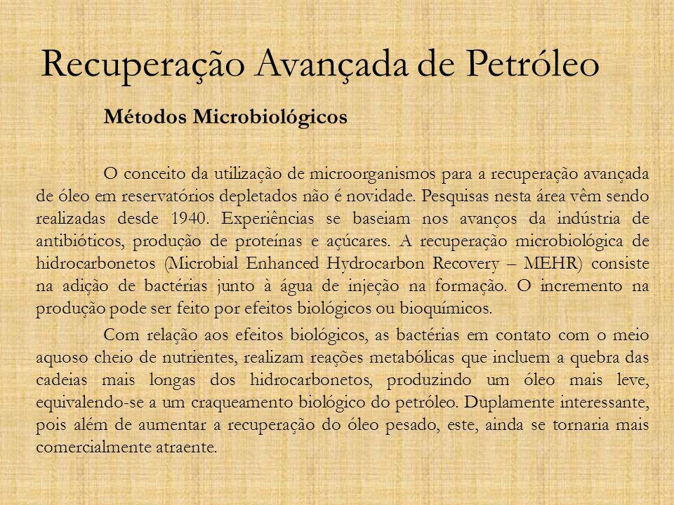 Recuperação Avançada de Petróleo Métodos Microbiológicos O conceito da utilização de microorganismos para a recuperação avançada de óleo em reservatór